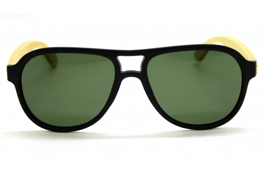 Óculos de Sol Bambu Masculino Preto Lt Verde - 2002PV
