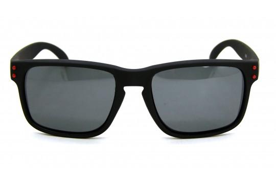 Óculos de Sol Acetato Masculino Preto Fosco Detalhe Vermelho - 5205PFDV