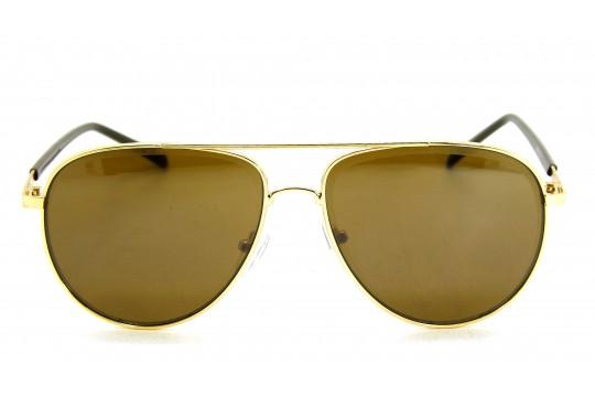 Óculos de Sol Metal Unissex Dourado Lt Marrom - H7513DM